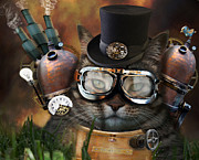 Manipulated Photography Framed Prints - Steampunk Cat Framed Print by Juli Scalzi