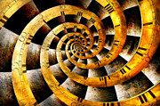 Spirals Prints - Steampunk - Clock - The flow of time Print by Mike Savad