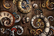 Abstraction Metal Prints - Steampunk - Clock - Time machine Metal Print by Mike Savad
