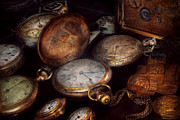 Brass Framed Prints - Steampunk - Clock - Time worn Framed Print by Mike Savad
