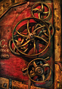 Gears Wheel Framed Prints - Steampunk - Clockwork Framed Print by Mike Savad
