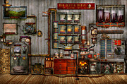 Steampunk - Coffee - The Company Coffee Maker Print by Mike Savad