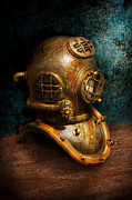 Science Fiction Glass Framed Prints - Steampunk - Diving - The diving helmet Framed Print by Mike Savad