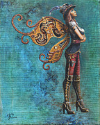 Brown Boots Painting Originals - Steampunk Fairy by Molly Prince