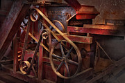 Contraption Prints - Steampunk - Gear - Belts and Wheels  Print by Mike Savad