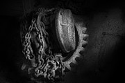 Industrial Metal Prints - Steampunk - Gear - Hoist and chain Metal Print by Mike Savad