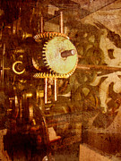 Brown Toned Art Digital Art Posters - Steampunk Gears Poster by Ann Powell