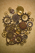 Parts Prints - Steampunk Gears Print by Diane Diederich