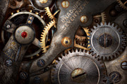 Technology Posters - Steampunk - Gears - Horology Poster by Mike Savad