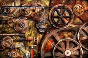 Round Photo Prints - Steampunk - Gears - Inner Workings Print by Mike Savad
