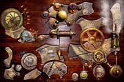 Clocks Digital Art Framed Prints - Steampunk - Gears - Reverse engineering Framed Print by Mike Savad