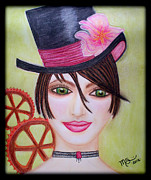 Black Top Pastels Framed Prints - Steampunk Girl Framed Print by Absinthe Art By Michelle LeAnn Scott