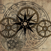 Timing Painting Prints - Steampunk Gold Gears Print by James Christopher Hill