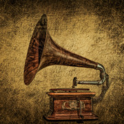 Speaker Photo Acrylic Prints - Steampunk Gramophone Acrylic Print by Erik Brede