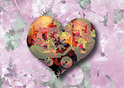 Mechanism Digital Art Metal Prints - Steampunk Heart Metal Print by Marsha Charlebois