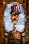 Head Framed Prints - Steampunk - Integrated Framed Print by Mike Savad