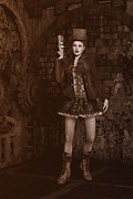 Cowgirl Skirt Framed Prints - Steampunk - Lady Grace Framed Print by Liam Liberty
