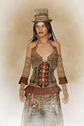 Antiquated Digital Art Prints - Steampunk Lady Print by Liam Liberty