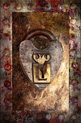 Girly Prints - Steampunk - Locksmith - The key to my heart Print by Mike Savad