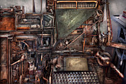 Newspaper Prints - Steampunk - Machine - All the bells and whistles  Print by Mike Savad