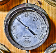 Gauges Acrylic Prints - STEAMPUNK - Mercury Vacuum Gauge Acrylic Print by Paul Ward