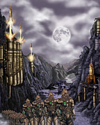 Rotate Painting Prints - Steampunk Moon Invasion Print by James Christopher Hill