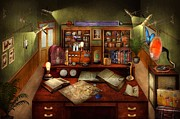 Writers Posters - Steampunk - My busy study Poster by Mike Savad