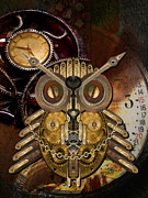Shannon Story Posters - Steampunk Owl Poster by Shannon Story
