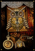 Shannon Story Posters - Steampunk Owls Poster by Shannon Story
