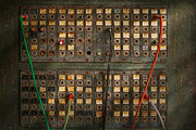 Telecommunications Prints - Steampunk - Phones - The old switch board Print by Mike Savad
