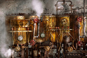 Gauges Acrylic Prints - Steampunk - Plumbing - Distilation apparatus  Acrylic Print by Mike Savad