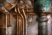 Rivets Prints - Steampunk - Plumbing - Industrial abstract  Print by Mike Savad