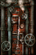 Vintage Digital Art Metal Prints - Steampunk - Plumbing - Pipes and Valves Metal Print by Mike Savad