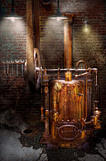 Steam-punk Posters - Steampunk - Powering the modern home Poster by Mike Savad