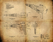 Featured Tapestries Textiles Prints - Steampunk Raygun Print by James Christopher Hill