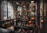 Invention Metal Prints - Steampunk - Room - Steampunk Studio Metal Print by Mike Savad