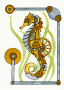 Steampunk Seahorse Print by Nora Blansett