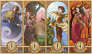 Brunette Digital Art Framed Prints - Steampunk Seasons Framed Print by Dani Kaulakis