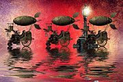 Lamp Post Mixed Media Prints - Steampunk Print by Sharon Lisa Clarke