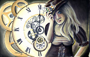 Pencil Work Pastels - Steampunk Sloane by Steve Ellenburg