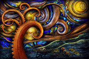 Fantasy Tree Posters - Steampunk - Starry night Poster by Mike Savad