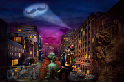 Scifi Posters - Steampunk - The Great Mustachio Poster by Mike Savad
