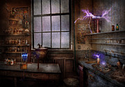 Electricity Prints - Steampunk - The Mad Scientist Print by Mike Savad