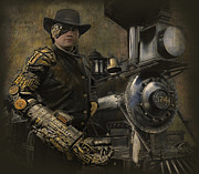 American West Digital Art Prints - SteamPunk - The Man 1 Print by Jeff Burgess