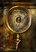 Round Metal Prints - Steampunk - The pressure gauge Metal Print by Mike Savad