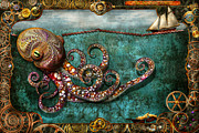 Sea Monster Framed Prints - Steampunk - The tale of the Kraken Framed Print by Mike Savad