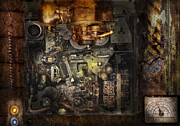 Gear Posters - Steampunk - The Turret Computer  Poster by Mike Savad