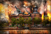 Apocalyptic Prints - Steampunk - The war has begun Print by Mike Savad