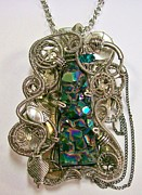 Jordan Jewelry - Steampunk Titanium Druzy and Swarovski Crystal Pendant -STMTiD2 by Heather Jordan