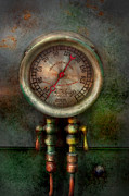 Fan Metal Prints - Steampunk - Train - Brake cylinder pressure  Metal Print by Mike Savad